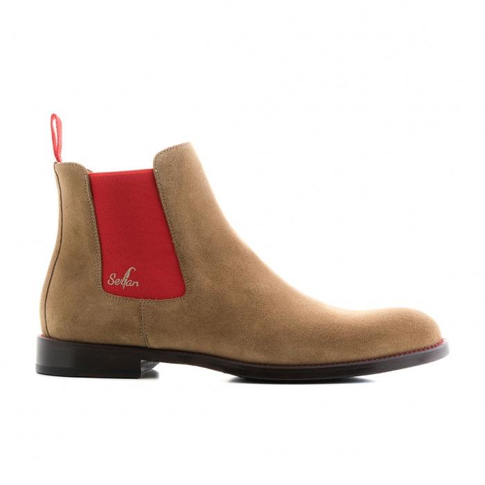 175aa7a91b5e9f Serfan Chelsea Boot Men Suede Beige Red