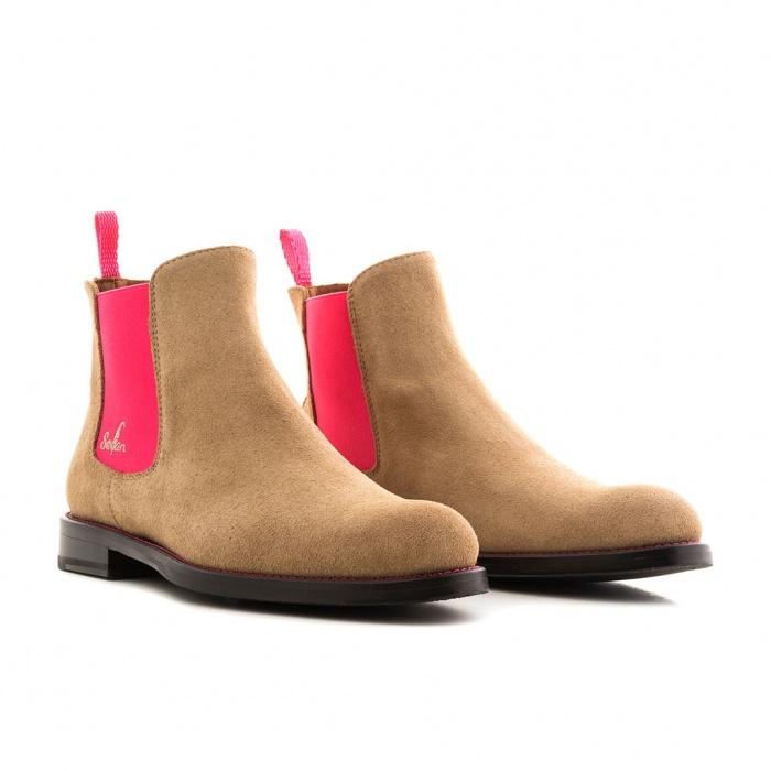724e20f5423a33 Serfan Chelsea Boot Damen Wildleder Beige Pink