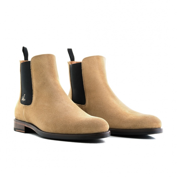 50f278ea6 Serfan Chelsea Boot Men Suede Beige Black