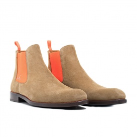 Serfan Chelsea Boot Damen Wildleder Beige Orange