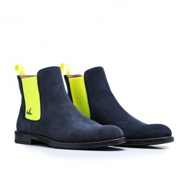 Serfan Chelsea Boot Women Suede Blue Yellow