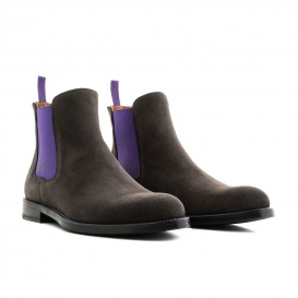 Serfan Chelsea Boot Women Suede Grey Purple