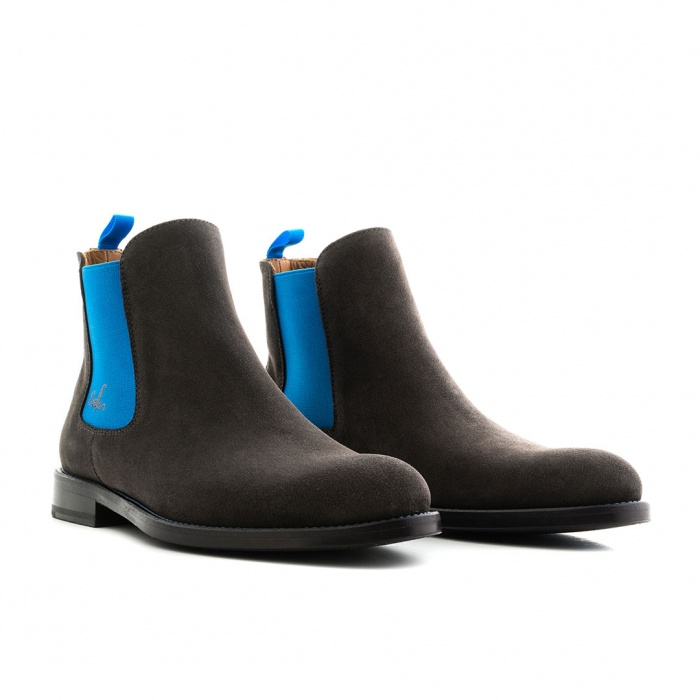 promo code 79450 a9e1e Serfan Chelsea Boot Herren Wildleder Grau Blau