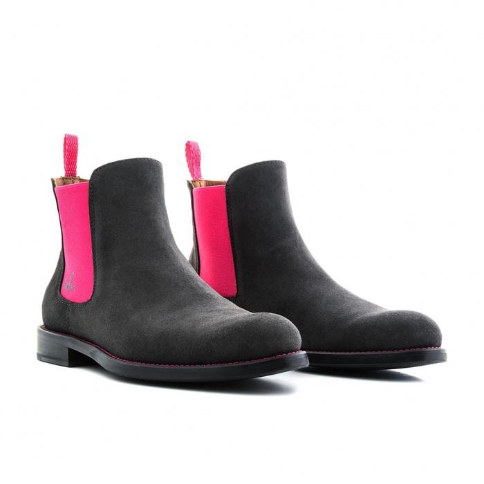 wholesale dealer bb9b2 e87aa Serfan Chelsea Boot Damen Wildleder Grau Pink