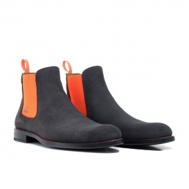 Serfan Chelsea Boot Damen Wildleder Grau Orange