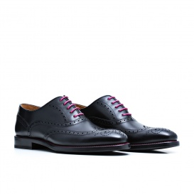 Serfan Oxford Women Calf Leather Black Pink