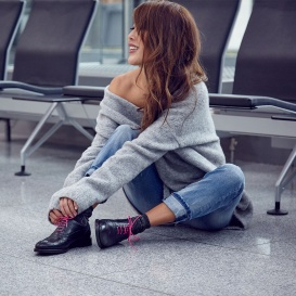 Serfan Oxford Women Calf Leather Black Pink