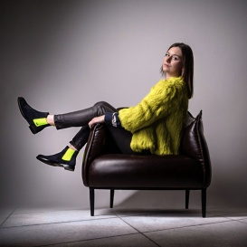 Serfan Chelsea Boot Women Suede Blue Yellow