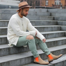 Serfan Chelsea Boot Men Suede Beige Orange