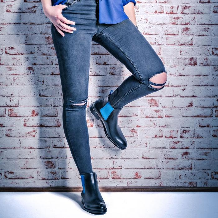 b94c63615306f7 Serfan Chelsea Boot Damen Schwarz Blau farbige Naht