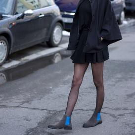 Serfan Chelsea Boot Damen Wildleder Grau Blau