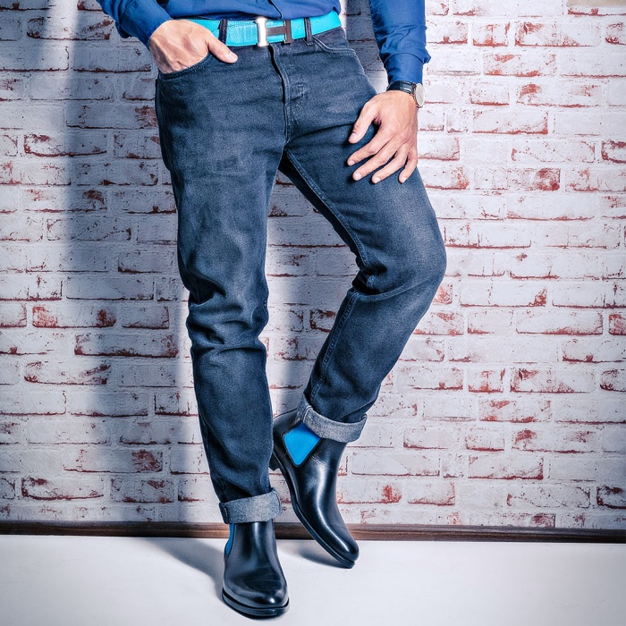 20c03a3722fbd1 Serfan Chelsea Boot Herren Schwarz Blau farbige Naht