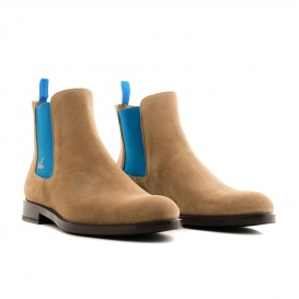 Serfan Chelsea Boot Men Suede Beige Blue