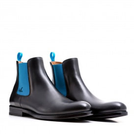 Serfan Chelsea Boot Women Calf leather Black Blue