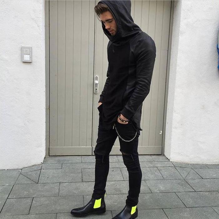 Serfan Chelsea Boot Men Calf Leather Black Yellow