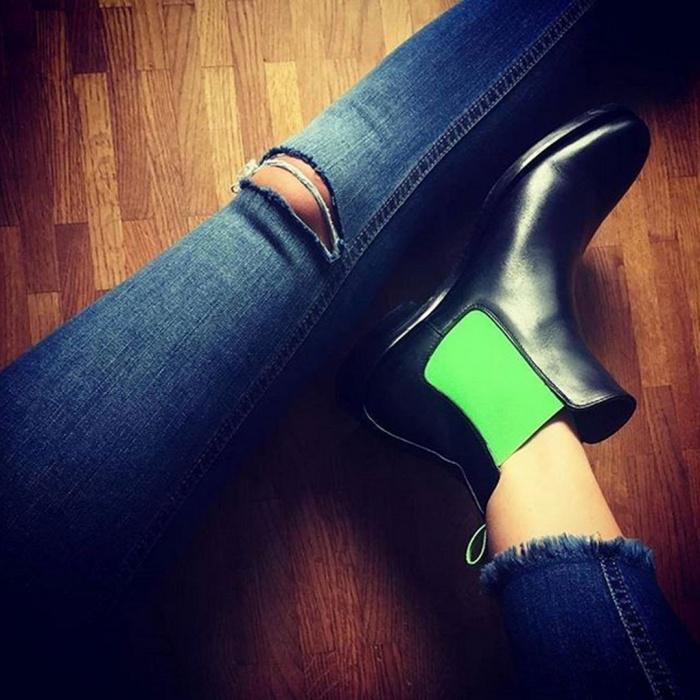 b0bd7e2dbf50c9 Serfan Chelsea Boot Women Calf Leather Black Green