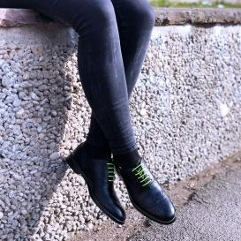 Serfan Oxford Women Calf Leather Black Yellow