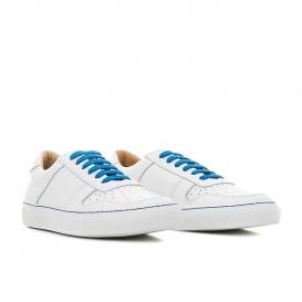 Serfan Sneaker Herren Glattleder Weiß Blau