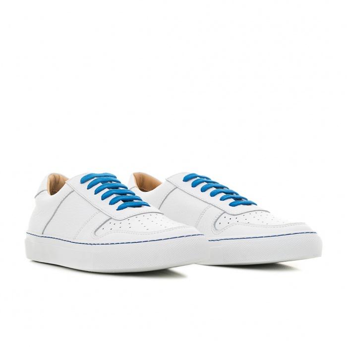 Wie findet man am beliebtesten 100% original Serfan Sneaker Herren Glattleder Weiß Blau