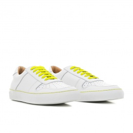 Serfan Sneaker Damen Glattleder Weiß Gelb