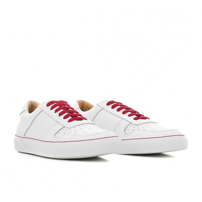 low cost 9d418 fe10f Serfan Sneaker Damen Glattleder Weiß Rot