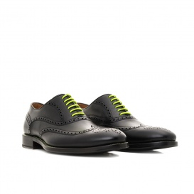 Serfan Oxford Women Calf Leather Black Yellow