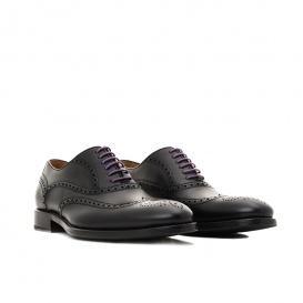 Serfan Oxford Men Calf Leather Black Purple