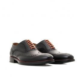 Serfan Oxford Herren Glattleder Schwarz Orange