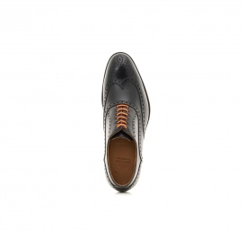 Serfan Oxford Damen Glattleder Schwarz Orange