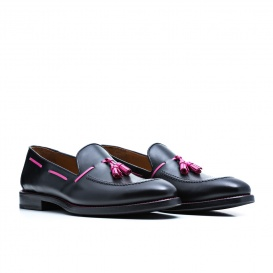 Serfan Loafer Women Calf Leather Black Pink
