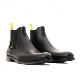 Serfan young fashion Chelsea Boot womem calf leahter black yellow