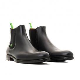 Serfan young fashion Chelsea Boot womem calf leahter black green
