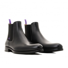 Serfan young fashion Chelsea Boot men calf leahter black purple