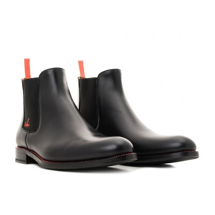 4ce069c756f10 Serfan young fashion Chelsea Boot men calf leahter black orange