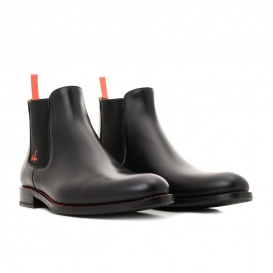 Serfan young fashion Chelsea Boot Damen Glattleder Schwarz Orange