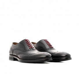 Serfan Oxford Men Calf Leather Black Red