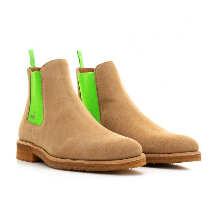 6af4a2678bb21c Serfan Chelsea Boot Men Suede Beige Green Crepe Sole
