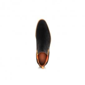 Serfan Chelsea Boot Men Suede Black Orange Crepe Sole