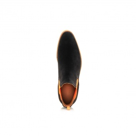 Serfan Chelsea Boot Damen Wildleder Schwarz Orange Crepe Sole