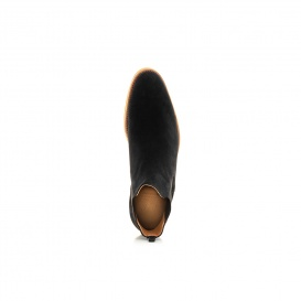 Serfan Chelsea Boot Men Suede Black Black Red Crepe Sole