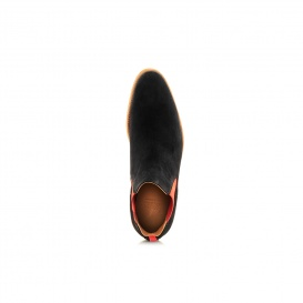 Serfan Chelsea Boot Women Suede Black Red Crepe Sole