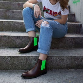 Serfan Chelsea Boot Damen Glattleder Braun Grün