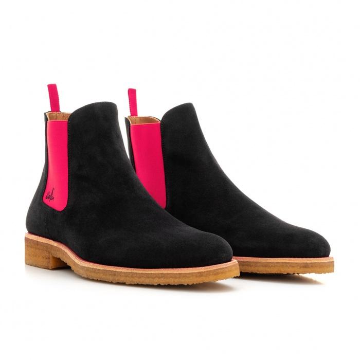 ba421d066b8fd7 Serfan Chelsea Boot Damen Wildleder Schwarz Pink Crepe Sole