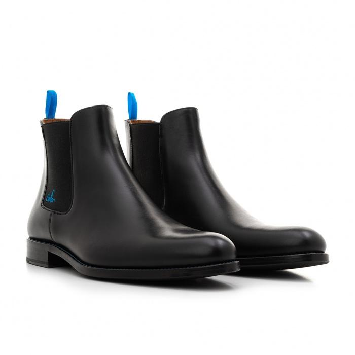 1839d3efb58f5f Serfan young fashion Chelsea Boot Damen Glattleder Schwarz Blau