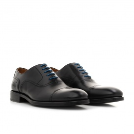 Serfan young fashion Oxford Herren Glattleder Schwarz Blau