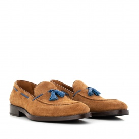 Serfan Loafer Men suede Cognac Blue