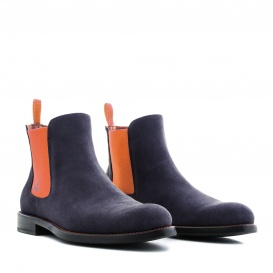 Serfan Chelsea Boot Herren Wildleder Blau Orange