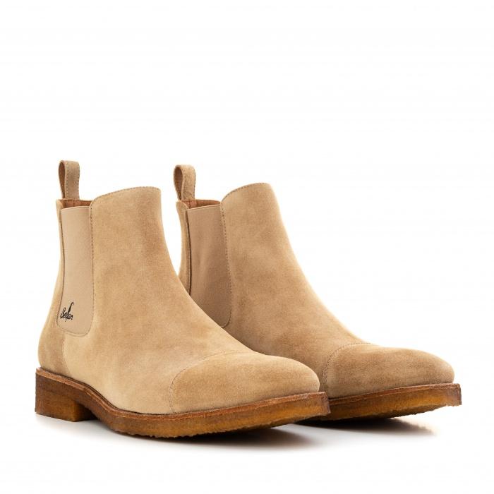 online retailer 7dc51 93bff Serfan Chelsea Boot Herren Wildleder Beige Beige Crepe Sole
