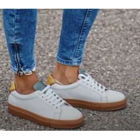 Serfan Sneaker Women Greenyellow with Contrastsole