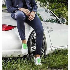 Serfan Sneaker Herren Glattleder Weiß Grün
